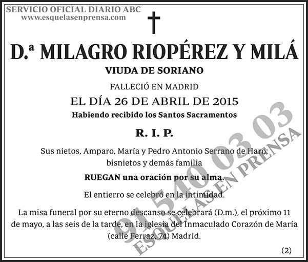 Milagro Riopérez y Milá